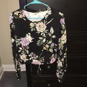 cropped floral print long sleeve
